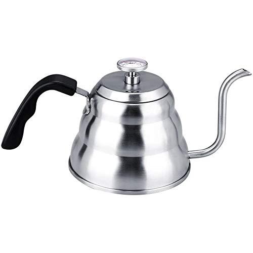 LYGACX Kaffeekessel, 304 Edelstahl, Kaffee-Schwanenhals-Kessel Teekanne mit Thermometer nach Hause gießen, 1l,M