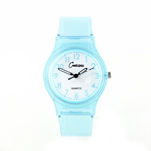 Horloge transparant blauw dames kinderen kunststof