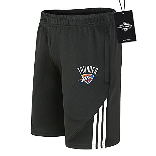 SPONYBORTY de Los Hombres Sudor Corto Verano Thunder Pantalones Cortos Algodón Corto Baloncesto Trotar Traje Causal/Negro/XXL