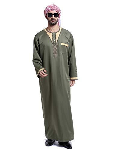 HANYIMIDOO Men's Long Sleeves Crew Neck Robe Arab Islamic Muslim Dubai Thobe Costume (XX-Large, Army Green)