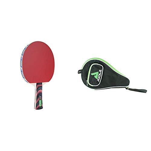 JOOLA Tischtennisschläger ROSSKOPF Classic ITTF zugelassener Tischtennis-Schläger, 2,00 MM Schwamm & Tischtennishülle TT-Hülle Pocket Passend für 1 Tischtennisschläger und 3 Tischtennisbälle, Green