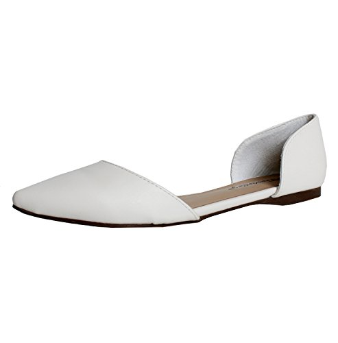 Breckelles Dolley-42 Ballet-Flats, White Pu, 8.5