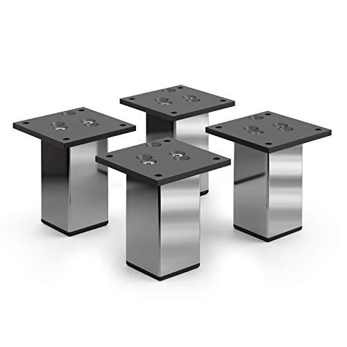 """Aluminium Möbelfüße Sossai\""""Exklusiv\"""" E4MF-N   4er Set   Höhe: 100mm   Farbe: Chrom"""