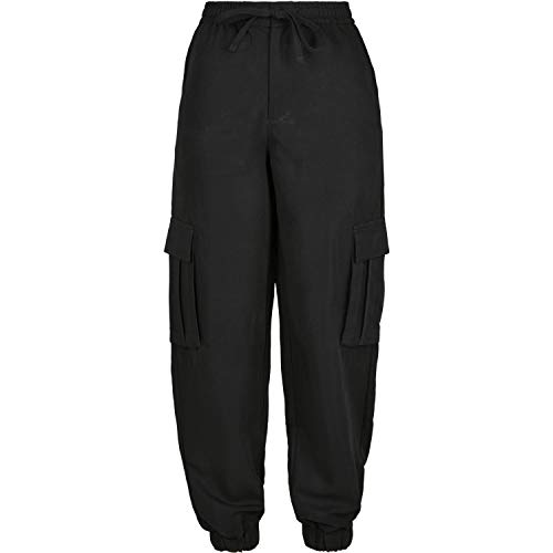 Urban Classics Damen Ladies Viscose Twill Cargo Pants Klassische Hose, Black, M