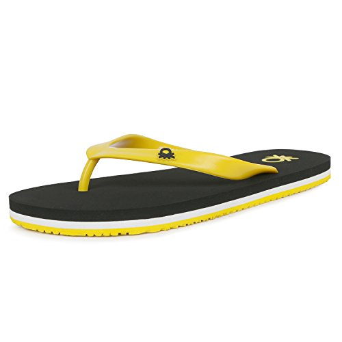 United Colors of Benetton Men's Basic 1 Black and Yellow Flip-Flops and House Slippers - 9 UK/India (43 EU)