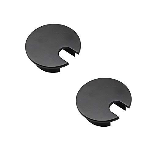 LERANXIN 2 Piezas Tapa De Agujero De Cable, Negro 35mm Pasacables Escritorio, Pasacables Escritorio Fabricado en Aleación de Zinc Profesional, Apto para Escritorios de Oficina