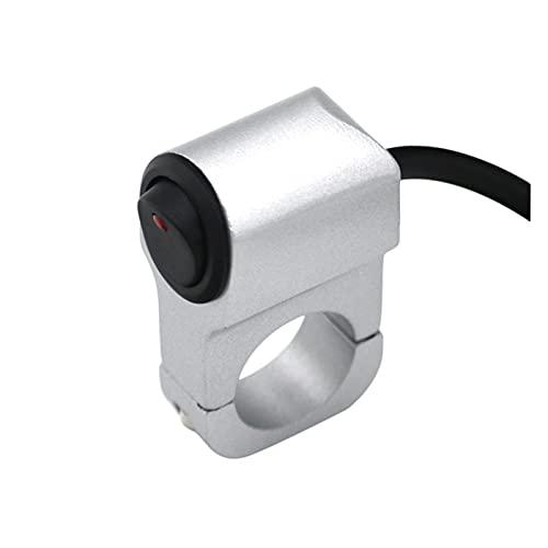 PIAO piaopiao Manillar de Motocicleta de Metal de aleación de Aluminio 12V Interruptor con indicador de la Barra de la luz del Interruptor de la Barra 10A Moto Accesorios (Color : Silver)