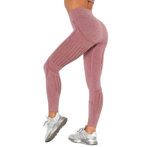 QTJY Pantalones de Yoga Suaves para Gimnasio de Cintura Alta, Pantalones Deportivos Delgados a la Moda para Mujer, Leggings con Push-ups, Pantalones Deportivos Casuales para Correr MS