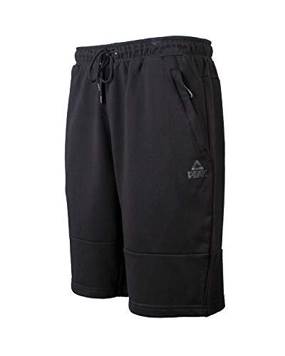 PEAK Men's Cotton Active Athletic Shorts with Pockets,for Home Workouts, Fitness,Running, Basketball Black