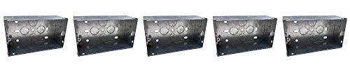 Klite 47 mm Doppel-2-Gang-Wand-Unterputzdose aus Metall, Unterputzmontage, für Steckdosen, Schalter, 5 Stück