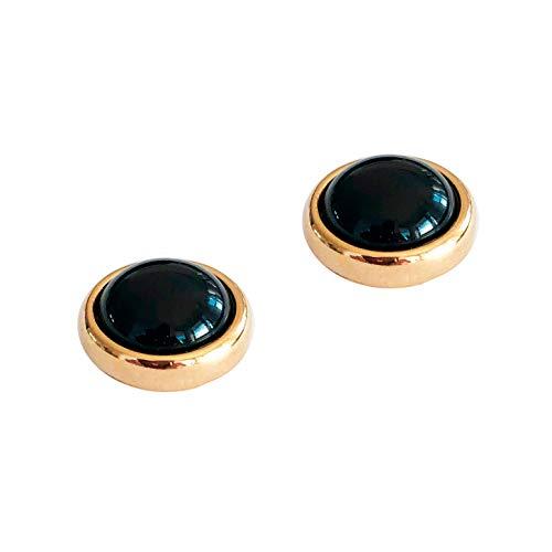 Ohrringe ESTHER Vergoldet mit Magnetverschluss und Naturstein Obsidian