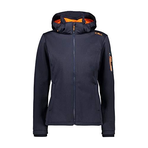 CMP Veste melange softshell coupe-vent et imperméable Veste Femme B.Blue Mel Orange Fluo FR : XS (Taille Fabricant : 38)