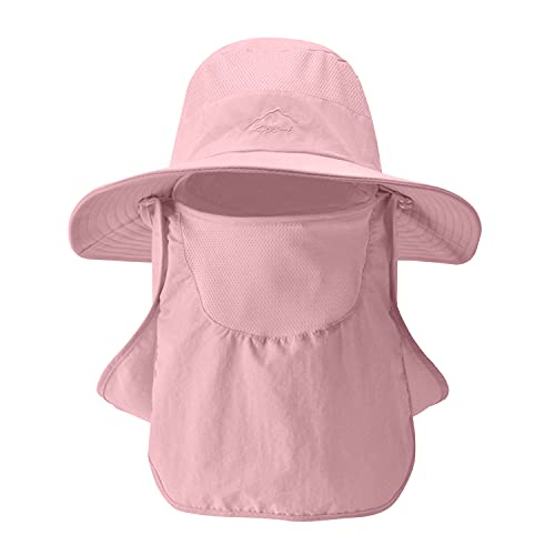 Galful Sombrero de pesca, sombrero de sol para hombre y mujer, gorra solar, transpirable, ancho con borde para rostro 360º, protección facial extraíble anti-UV 50+ rosa Talla única