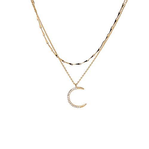 QKL Collar Clásico De Doble Luna Colgante para Mujer, Cadena De Clavícula Simple
