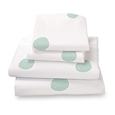 Seafoam Green Polka Dot Full Size Sheet Set, Soft Sheets for Deep Mattresses, 4 Pieces Full Size Set in White and Mint