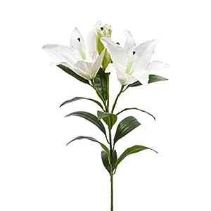 artplants.de Flor de Lirio de imitación Kohaku, Blanco, 100cm – Azucena sintética – Flor Textil