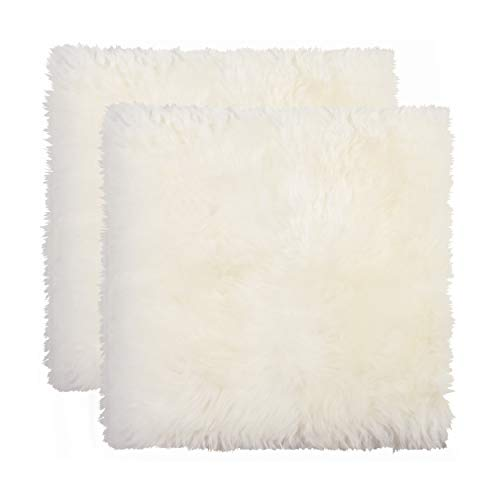 Set of 2, New Zealand Real Sheepskin Seat/Chair Pad, Super Soft Wool, Natural Leather, Non-Slip Backing, Natural
