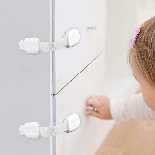 ベビーガード チャイルドロック 引き出しロック 子供 安全 ストッパー ドアロック ドア開け防止 指はさみ防止 長さ調整可 6個セット (6本入(ホワイト))
