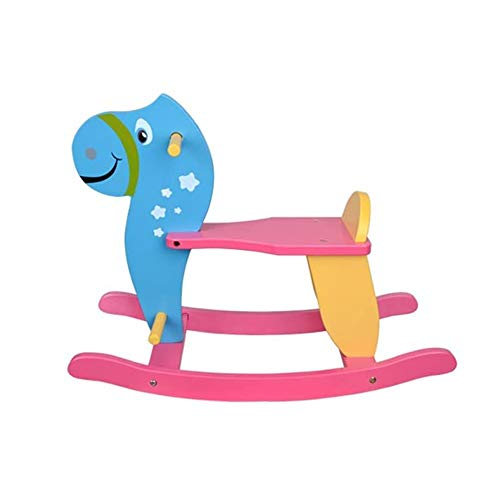 NXYJD Caballo Mecedora de Madera para Interiores para bebés, Juguetes para Montar en los niños, Cochecito Mecedora, Silla oscilante de Juguete, Regalos de cumpleaños para niños y niñas