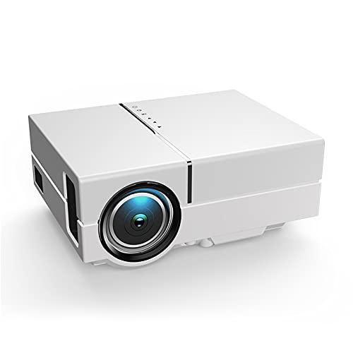 Mini Proyector Portátil, Compatible con Pantalla 1080P y Full HD de 174'', Corrección Trapezoidal ±15°, Proyector LED Entretenimiento En El Hogar, Compatible con HDMI/DVD/VGA y USB,Blanco