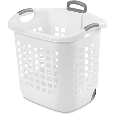 Case of 4 Wheel Laundry Basket 1.75-Bushel In White