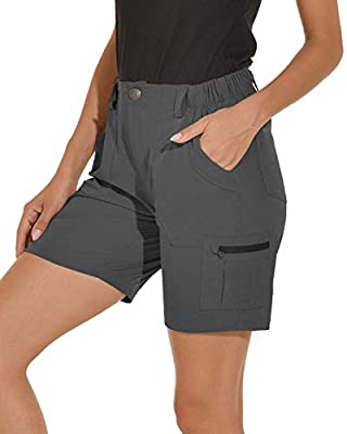 VAYAGER Women's Lightweight Cargo Short for Hiking,Camping and Travel with 6 Pockets Quick Dry Water Resistant Grey