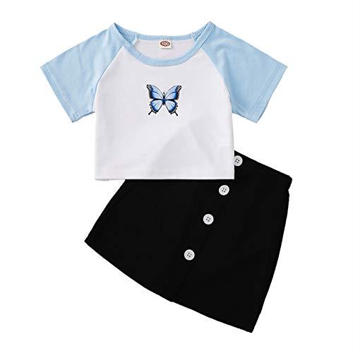 Conjunto de niña de 3 a 10 años, 2 Piezas, Camiseta Superior con Estampado de Mariposas, Retazos, Falda de Color sólido, Botones, clásico, Dulce, Informal, Verano (Azul, 9-10 años)