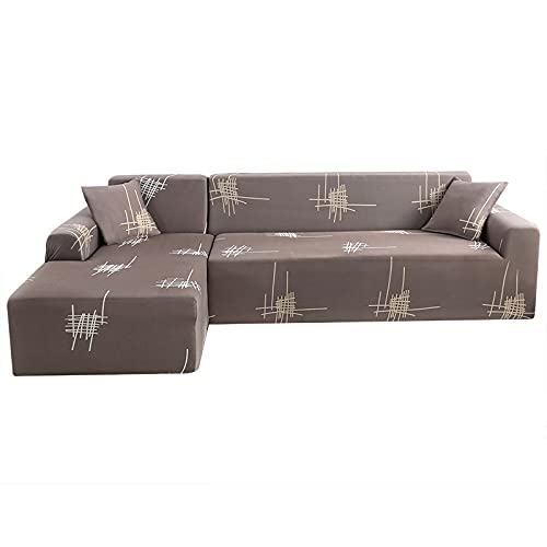 WXQY Funda de sofá de Esquina,Funda de sofá de Sala de Estar,sofá de combinación elástica y elástica,Funda de sofá Todo Incluido Antideslizante A6 de 3 plazas