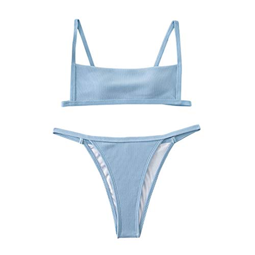 ELBEZOV Bikini Damen Einfarbiger Gerippter Push Up Bikini Set Neckholder Bademode Niedrige Taille Tanga Zweiteiliger Badeanzug Sexy Strandbikini Sommer(Blau M)