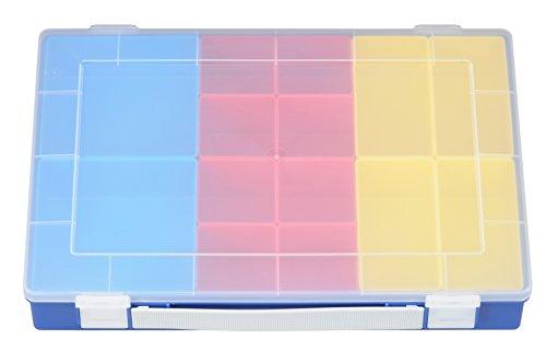 hünersdorff Sortimentskasten: sehr stabile Sortierbox (PP) mit praktischem Tragegriff und 14 Einsatzboxen, luftdicht, Sortierkasten-Maße: T225 x B335 x H55 mm