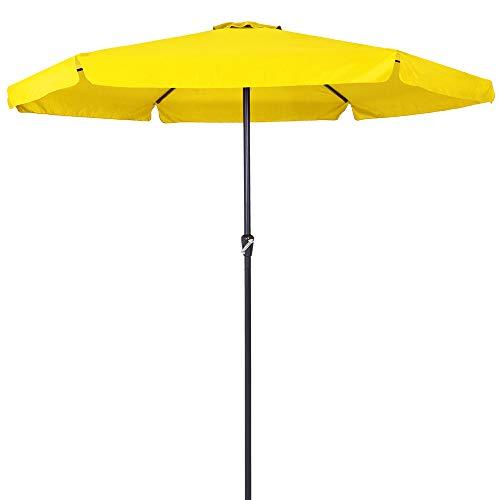 Deuba Kingsleeve Sonnenschirm I 330cm I wasserabweisend I Aluminium I gelb - Kurbelschirm Ampelschirm Marktschirm Gartenschirm Terrassenschirm
