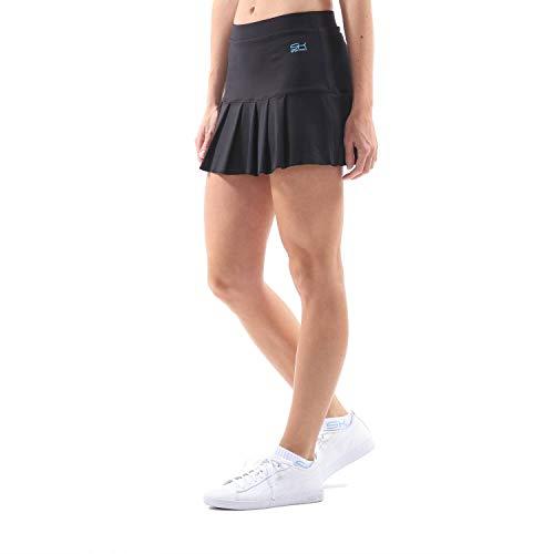 Sportkind Mädchen & Damen Tennis, Hockey, Golf Faltenrock mit Innenhose, atmungsaktiver Skort, UV-Schutz, schwarz, Gr. S