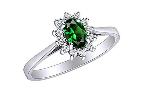 AFFY - Anello di fidanzamento in oro bianco massiccio 14 ct, con smeraldo sintetico e diamante naturale bianco da 0,45 carati, misura N 1/2