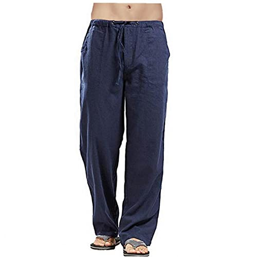 Tuimiyisou Hombres de Lino Pantalones Loose Fit Casual Ligero con cordón Yoga...