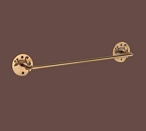 Aquareforma | Toallero Barra Oro Viejo | Acero Pintado Oro Viejo | Medidas 46 cm x7,5 cm x 6,5 cm | Accesorio de Pared con Taladro
