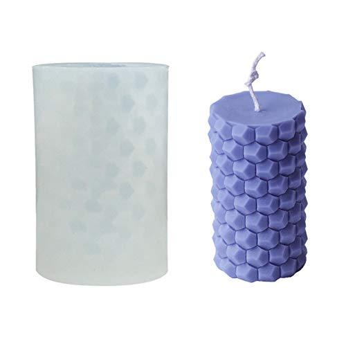 3D Kerze Silikonform | Wabenzylinder Kerzenform DIY handgemachte Aromatherapie Kerzenform Kerzenherstellung Formen für Pralinen Süßigkeiten Kerzen Seifen, etc.