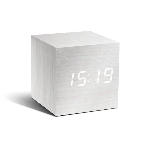 Gingko GK08W13 Würfel-Digitaluhr 'Click Clock' Weiß mit weißer LED-Anzeige