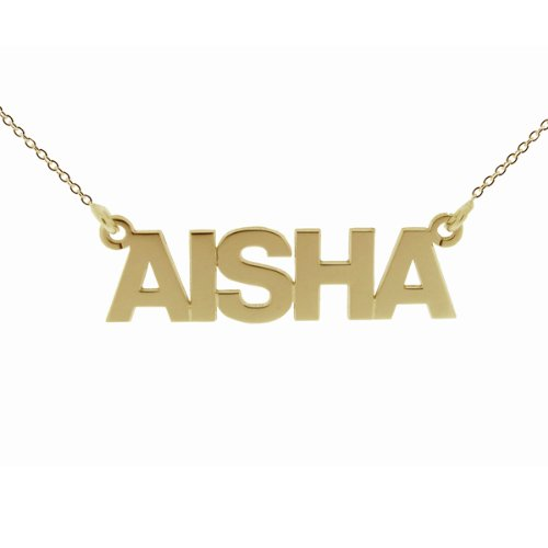 Small Solid 9ct Yellow Gold Block Style Personalised Name Necklace With 20' (51cm) Trace Chain In Presentation Gift Box - ANY NAME MADE (See Description)