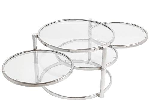Leitmotiv Tripple Swivel Table Verre, Acier, Chrome, Taille L