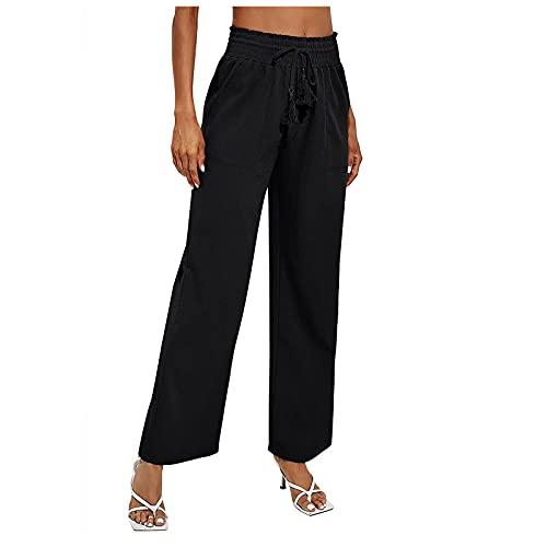 S-UN Damen Hose Hohe Taille Kordelzug Hose mit Weitem Bein Einfarbig Gummiband Stretch ÜBergrößE Freizeithose Stoffhose mit Taschen