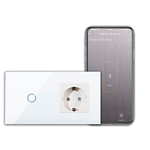 CNBINGO Schuko presa con interruttore della luce WLAN-Interruttore smart touch a 1 via Lavora con Alexa/Google Home, Smart Life AppTelecomando con pannello in vetro Linea neutra richiesta