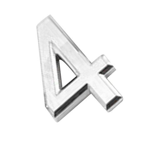Moderne Argent/Or 3D Numéro de Maison 0-9 Chiffre Auto-adhésif Pr Maison Hôtel Plaque d'immatriculation-5X3X0.6cm - Argent4, 5X3X0.6cm
