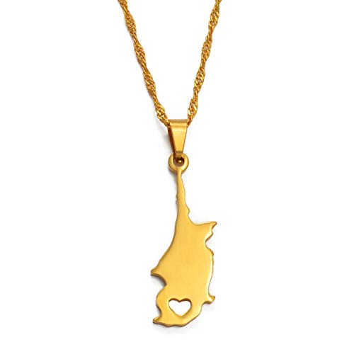 DDSH Zypern Anyo Land / Region Karte Anhänger Halskette Goldenes Geschenk Kibris Karte 019321