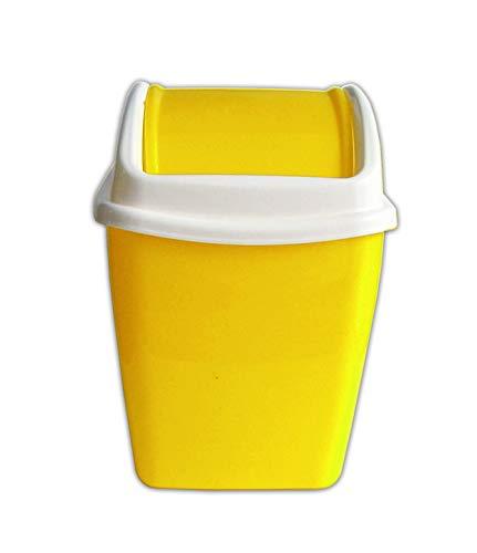 Eco TISCHABFALLEIMER 1,1L Schwingdeckel Kosmetikeimer 3-Varianten Papierkorb Mülleimer Abfalleimer 51 (Gelb)