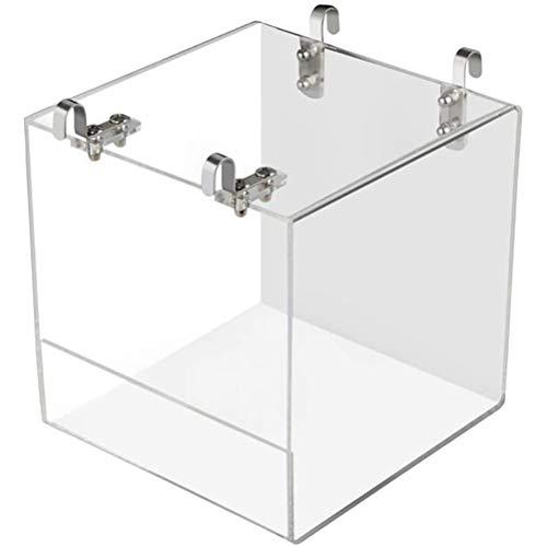 Yumira Bañera para pájaros de acrílico, caja de ducha con gancho, jaula de pájaro, caseta de baño para pájaros, loros, cacatúas