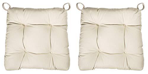 sleepling 2er Set Stuhlkissen/Sitzkissen Eva für Indoor und Outdoor, Maße: 40 (vorne) / 35 (hinten) x 38 x 8 cm, beige