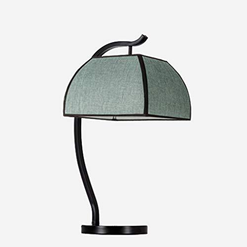 Lámpara de mesa creativa Botón moderno Nuevo chino estilo de tabla de la lámpara de plug-in de lectura lámpara hecha a mano de tela de hierro lámpara de escritorio for el dormitorio de habitaciones Lá