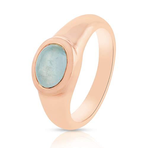 Gemshiner anillo de mujer azul aguamarina anillo de piedras preciosas plata de ley 925 anillo chapado en oro rosa cumpleaños, regalos de compromiso para niñas