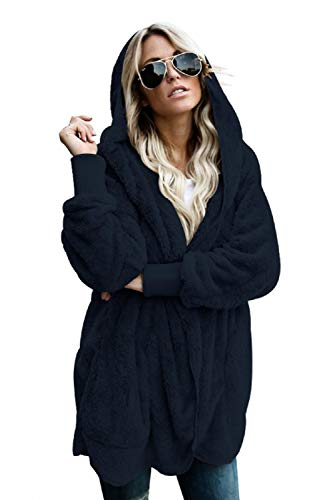 Dokotoo Womens Casual Cozy Warm Loose Solid Ladies Fuzzy Winter Fall Open Front Long Sleeve Fleece Pocket Hooded Cardigan Sweaters Jackets Coats Outerwear Navy X-Large