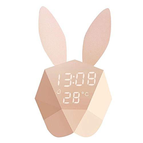 xinrongqu Karikatur-Nette geführte helle Nachtthermometer-Wieder aufladbare Digitale Tabellen-Wanduhr-Kaninchen aufwachen Nachttischwecker mit hellem hellgelbem China